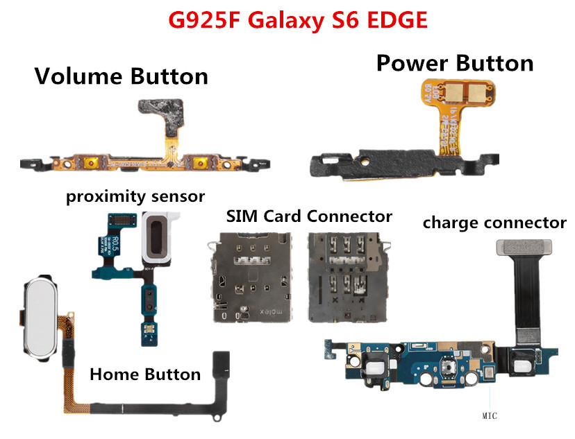 Flex Cable For Samsung Galaxy S6 Edge G925F Volume Power Home Button Headphone Charge Connector Proximity Sensor SIM Card Reader