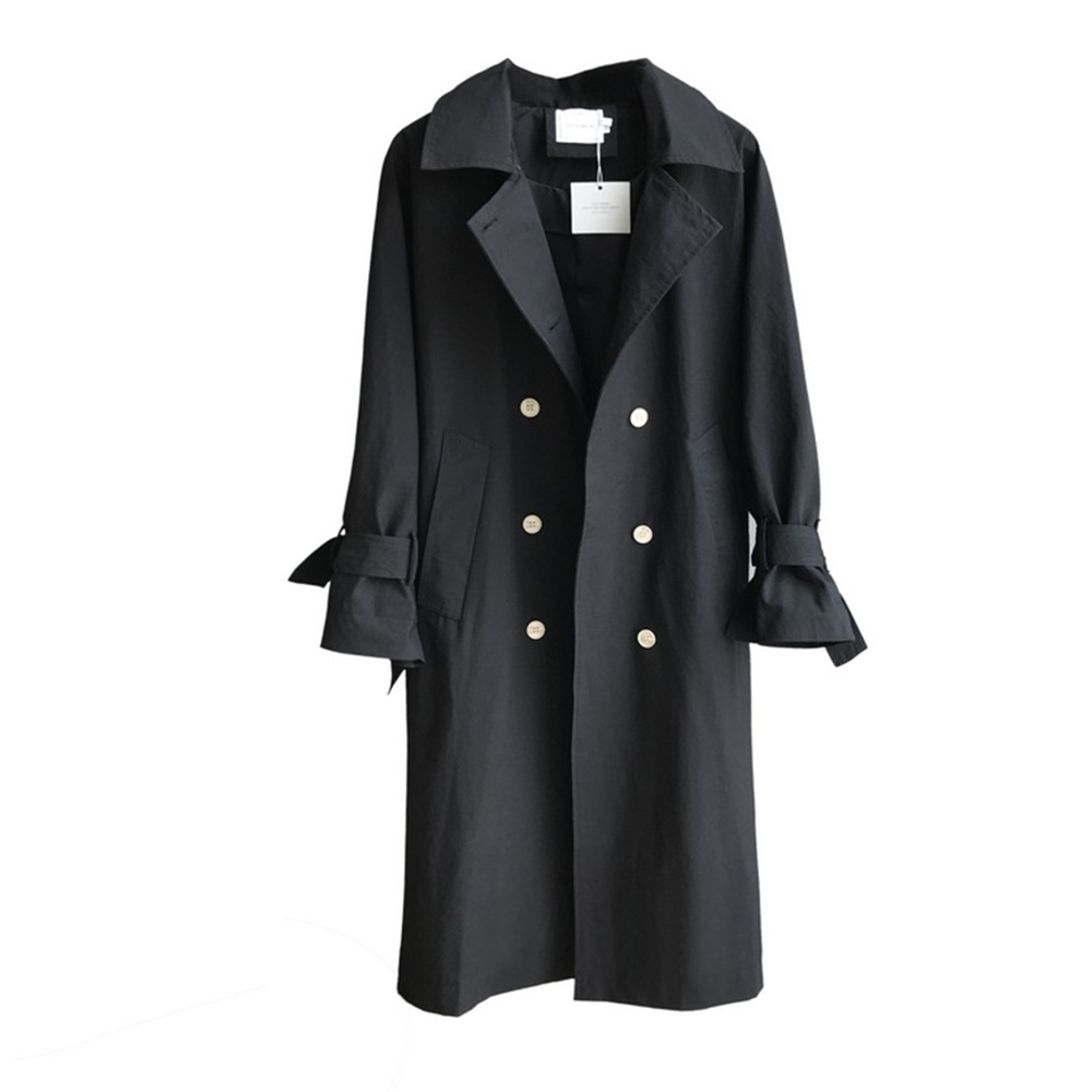 Autumn Winter 2019 New England Style Joker   Trench   Coat Women Turn-Down Collar Full Sleeve Double Breasted A-Line Long Clothes