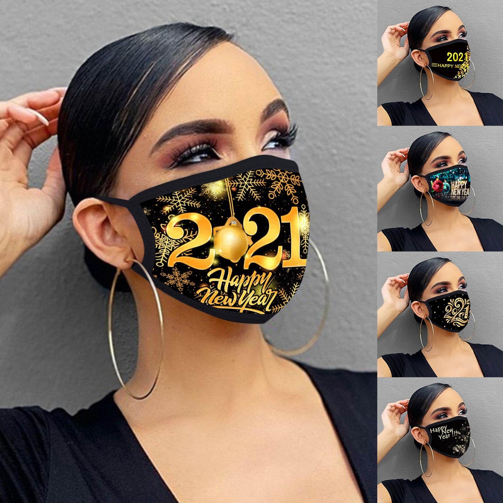 Маска для взрослых 2021 смешная Маска счастливого Нового года Моющиеся Многоразовые загрязненные маски для рта Маска На Рот унисекс рождеств...