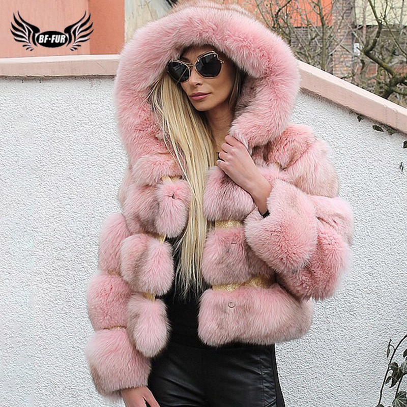 2019 Fashion Pink Real Fox Fur Coat With Hood For Women Winter Thick Warm Genuine Fox Fur Jackets Natural Luxury Fur Coats Woman