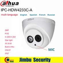 Dahua 2MP IP Camera multi language IPC HDW4233C A Starlight PoE H.265 H.264 Built in Mic IR30m Network CCTV Camera onvif IP67