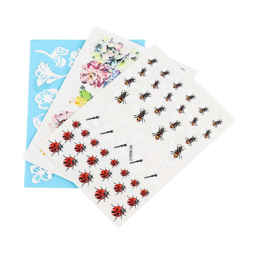 1PC 3D เล็บอะคริลิคแกะสลักธรรมชาติ Bee สติกเกอร์เล็บ DIY น่ารัก Flamingo Bee ดอกไม้ตกแต่งตกแต่งเล็บน้ำสติกเกอร์
