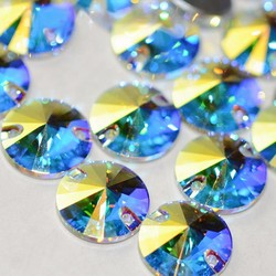 YANRUO 3200 Rivoil جودة عالية AAAAA خياطة على Rivoli زجاج كريستال مستدير خياطة على أحجار الراين لفساتين الملابس