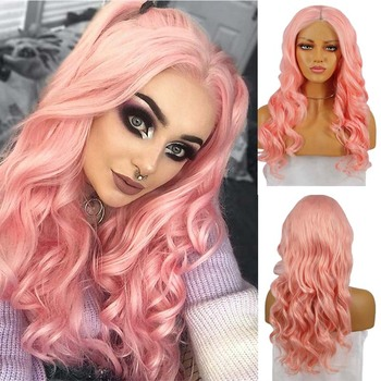 AIMEYAP Body Wave Middle Part Pink Long Synthetic Lace Front Wig For Women Pre Plucked Heat Resistant Half Hand Tied Wigs