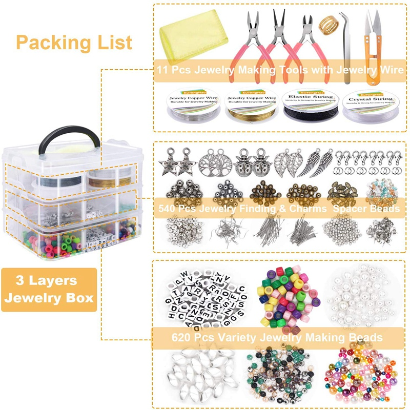 Jewelry Making Supplies Kit Jewelry Making Tools Kit Includes Beads Wire for Bracelet and Pearl Beads Spacer Beads Jewelry Plier 5
