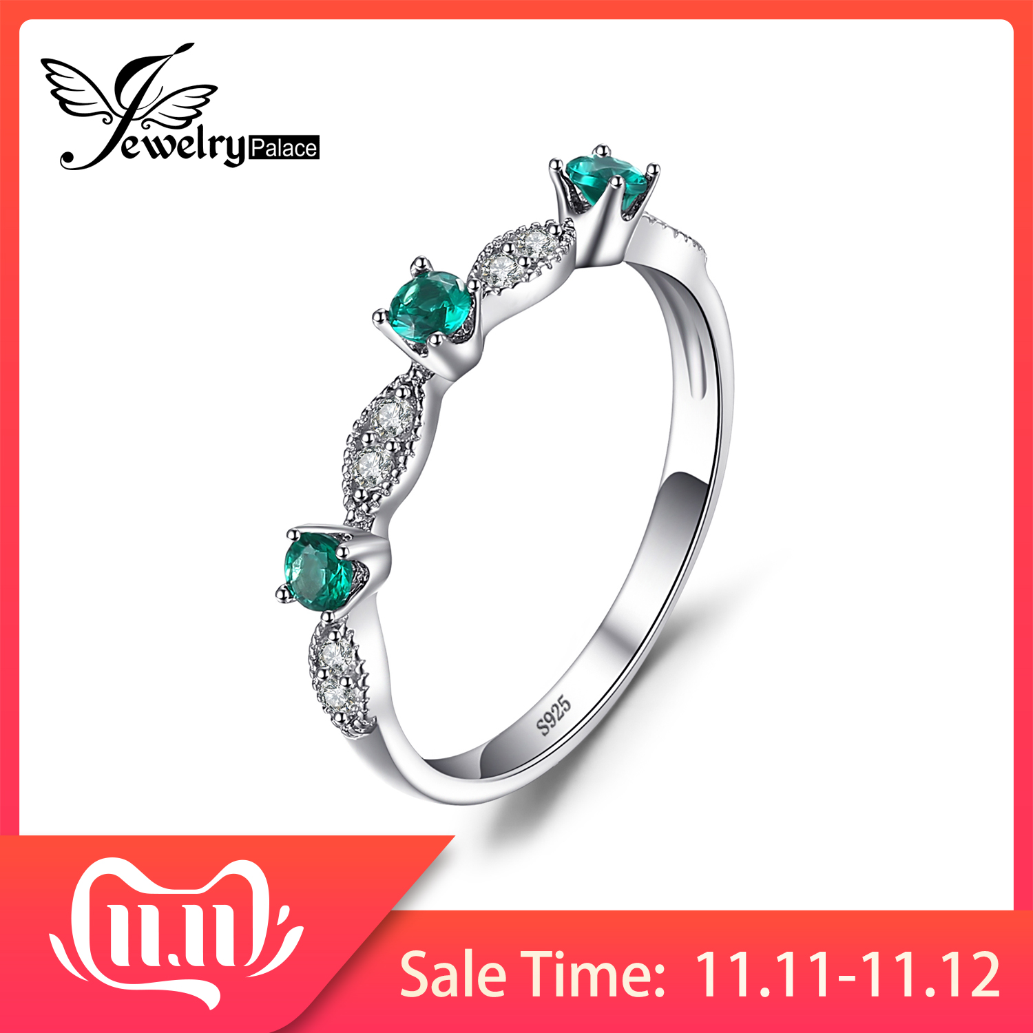 JewelryPalace Created Nano Emerald Ring 925 Sterling Silver Rings For Women Wedding Band Rings Silver 925 Gemstones Fine Jewelry
