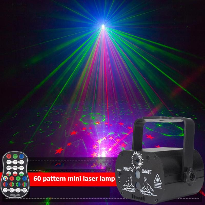 60 Patterns LED Laser Projector Light Party Decoration Home 180Degree Manual Rotation USB Rechargeable Club DJ Disco Stage Light