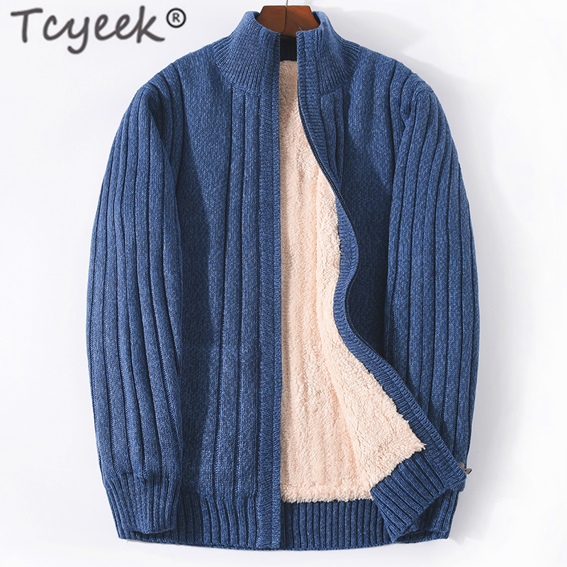 Tcyeek Men's Sweater Winter Sweater Coat Man Clothes 2019 Knitted Thick Warm Cardigan For Men Pull Homme Plus Size Homme SL203-1