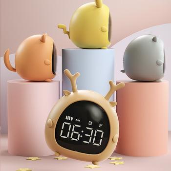 Kreatywny inteligentny budzik dla ucznia zegar Usb ładowanie sterowanie głosem pulpit cyfrowy zegar Led Mini elektroniczny Alarm dla dzieci Cartoon C tanie i dobre opinie CN (pochodzenie) circular 77mm DIGITAL 0 2g 81mm Zegarki z alarmem LUMINOVA Z tworzywa sztucznego 72mm Nowoczesne Funkcja drzemki