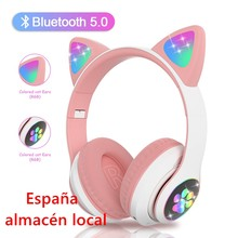 Écouteurs sans fil Bluetooth LED avec micro et oreilles de chat pour enfants, casque musical de dessin animé pour filles, expédition rapide, entrepôt local en espagne
