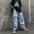Джинсы с дырками в стиле Харадзюку, уличная одежда в стиле хип-хоп, женские и мужские Мешковатые Свободные прямые однотонные джинсы в стиле ...