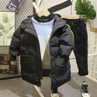 winter Boys Clothes Sets boys Long winter jacket+knitted sweater+Plush t shirts + plus pants 4Pcs/Sets Child Sports Suits 2 6Y