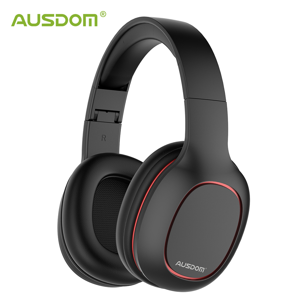 Ausdom Stereo Headset Headphone-Over-Ear Wired Tf-Card Bluetooth Foldable Mic-Support