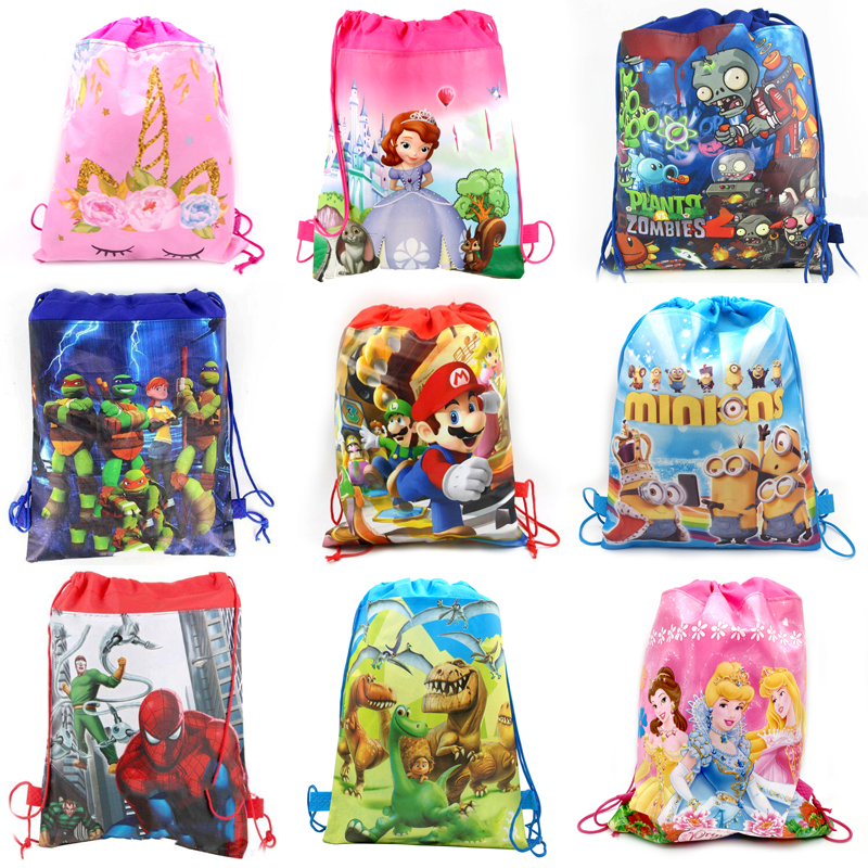 10pcs/lot Birthday Party Dinosaur/Unicorn/Princess/mermaid/pokemon/Mario/Spiderman Design Mochila Decorate Drawstring Gifts Bags