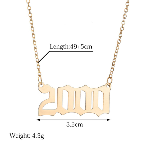 SUMENG 2020 New Fashion Year Number Necklaces Gold Color Long Chain Custom Year 1989 to 2000 Birthday Gift For Women Accessories Jewellery & Watches Women's Fashion