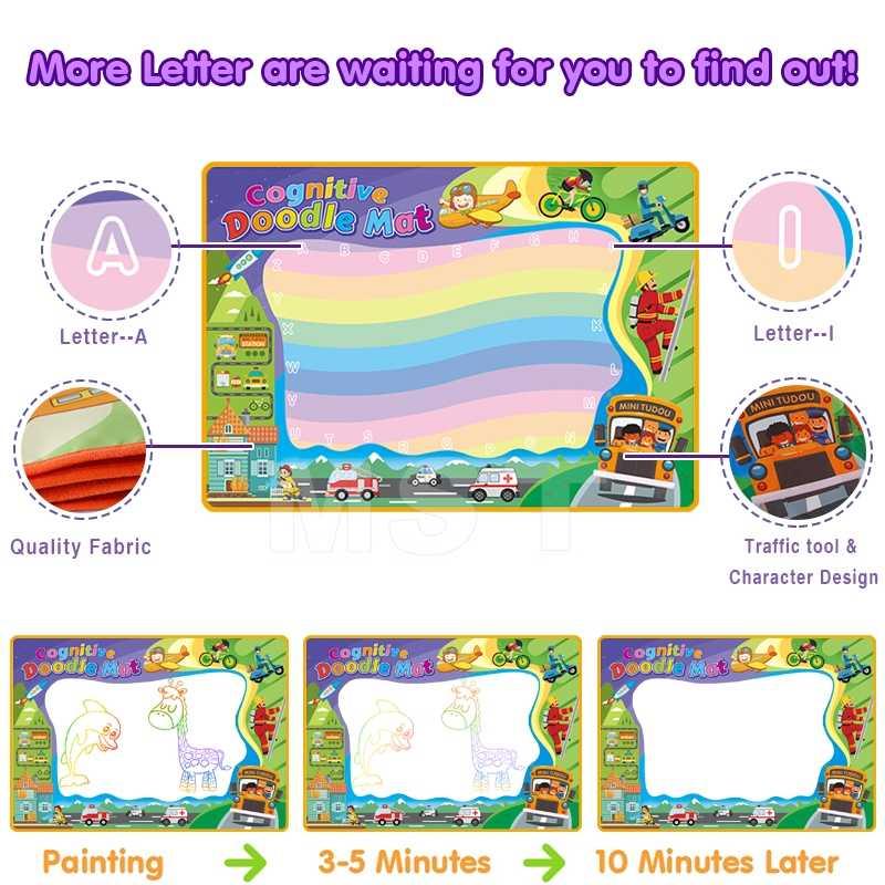 Sihirli su çizim matı çocuk boyama seti sihirli su kalemler boyama oyuncaklar çizim kurulu yazı eğitici oyuncaklar yaratıcılık için