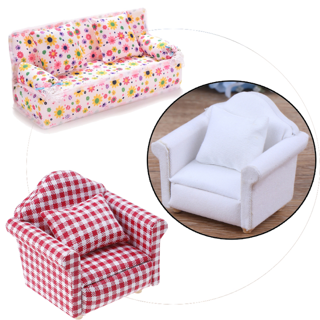 1:12 Doll house Furniture Dot plaid Flower Chair Sofa with pillow Sweet Furniture for doll house armchair Toys Gift