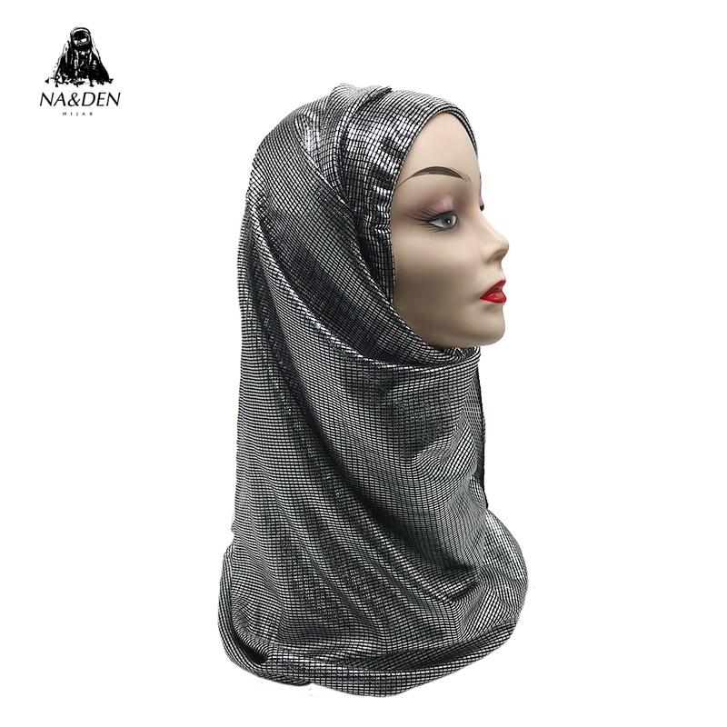 1PCS Fashion Muslim Head Scarf New Bandana Glitter Muffler Hijab Islamic Hijab Sparkling Pashmina  Shimmer Shawls Solid Scarf