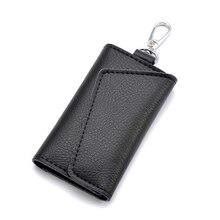 New Key Bag Soft Genuine Leather Case Men Women Multifunction Credit Card Holder Car Fashion Housekeeper 6 Rings