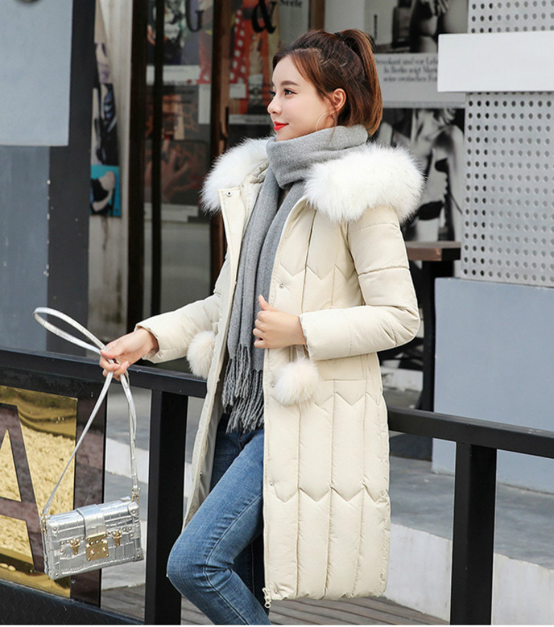 Plus size winter coat women padded cotton hooded women long jacket outwear slim white warm vintage female parka new 2019 DR1195 (17)