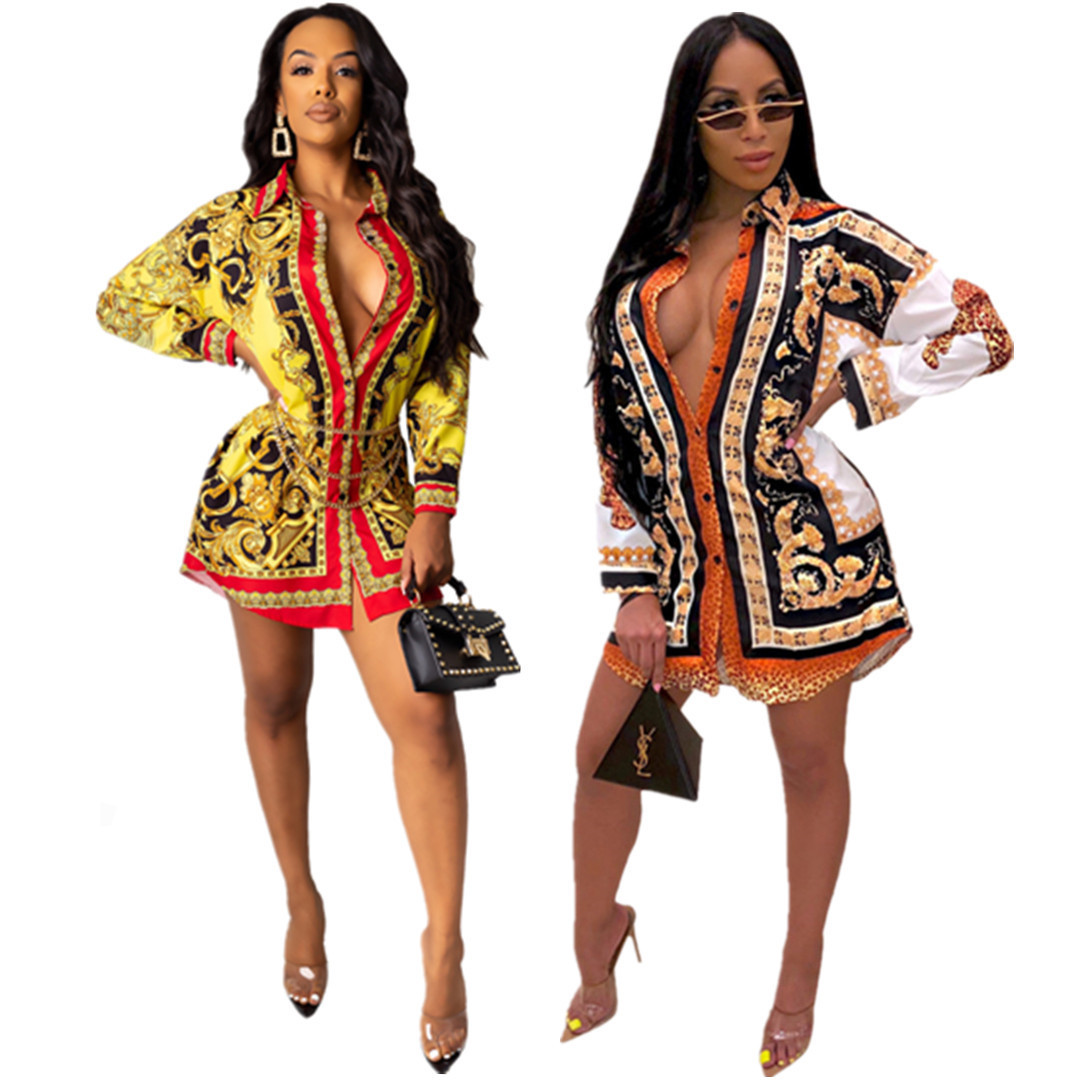 Dashiki African Clothes Autumn Women Winter Bodycon Mini Dress Loose Sexy National Print Button Casual Club Night Party Bandage