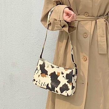 Milk Cow Print Women Armpit Handbags Fashion Design Ladies Underarm Baguette Bag Vintage Leather Girls Shoulder Messenger Bags цена 2017