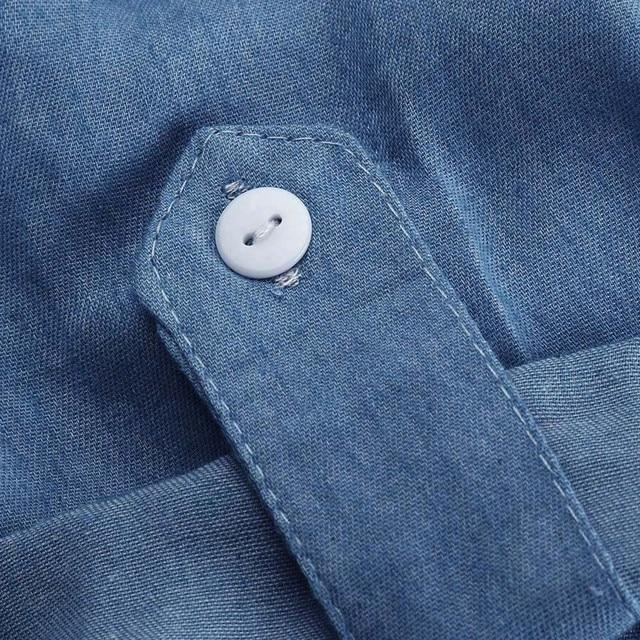 Denim Solid  Short Sleeves V-neck  Casual Turn Down Collar shirt Dress 5