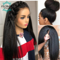 Kinky Straight HD Lace Wigs 180Density Fake Scalp Lace Front Human Hair Wig 13*6 Indian Remy Coarse Yaki for Women FlowerSeason
