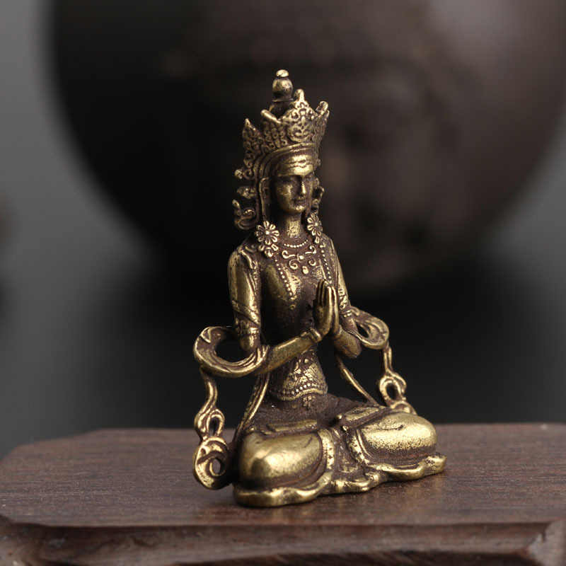 Solid Copper Mini Guanyin Buddha Statue Living Room Decorations Feng Shui Miniatures Figurines Home Decor Car Ornaments Crafts