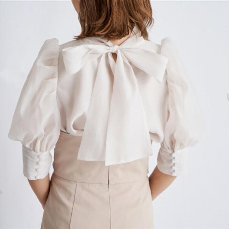 Sweet Chic Drawstring Bow Lantern Sleeve Woman Tops Summer Elegant Temperament Blouses 2021 Fashion Tide All Match Shirts
