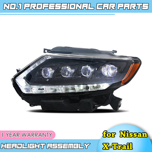 Image 2 - car accessories for Nissan X Trail Headlights 2014 17 Nissan X Trail LED Headlight DRL Lens Double Beam