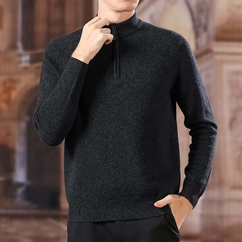 100% Wool Fashion Brand Sweater For Mens Half Zip Pullover Slim Fit Jumpers Knitwear Winter Korean Style Casual Mens Clothes