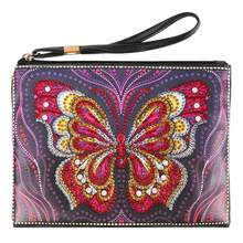 DIY Colorful Butterfly Special Shaped Diamond Painting Wristlet Wallet Women Clutch Ingenuity Fashional Beautiful Wristlet Bag(China)