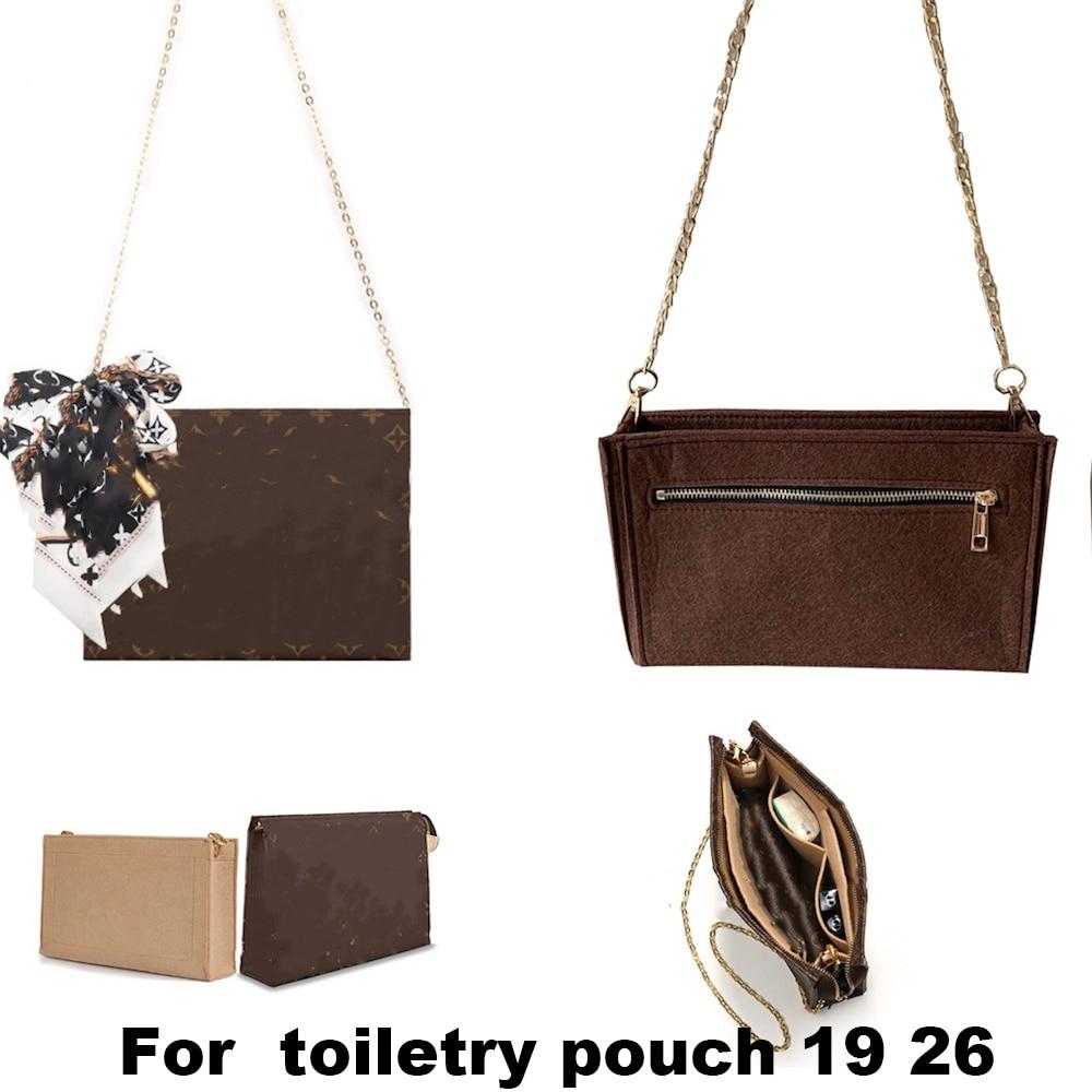 For Toiletry Pouch 19/26 Bag Purse Insert Organizer Makeup Handbag Travel Organizer Inner Purse Cosmetic Bag Base Shaper - 2PCS