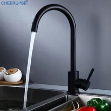 Robinet mitigeur chaud froid en acier inoxydable, robinets dévier de cuisine, robinet noir monotrou rotatif montés sur le pont, robinets modernes Keukenkraan