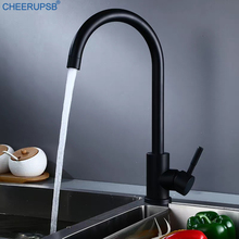 Sink Faucets Kitchen Hot Cold Mixer Tap Stainless Steel Black Faucet Single Hole Rotatable Deck Mounted Modern Taps Keukenkraan