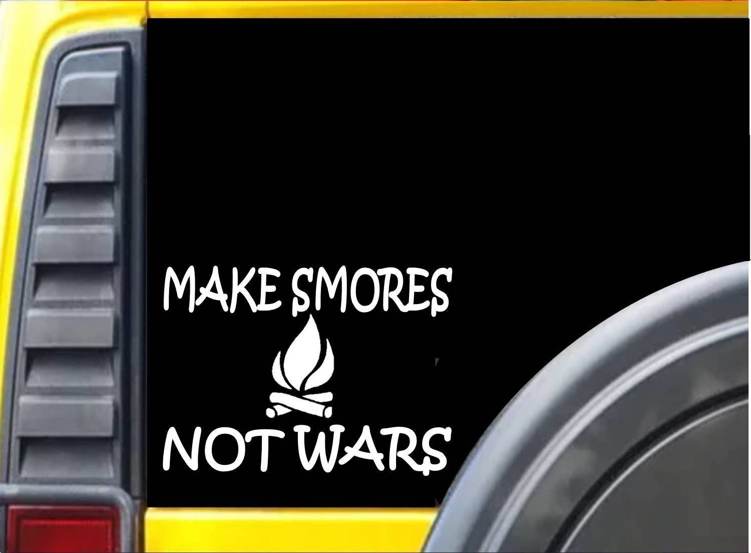 Make Smores Not Wars Sticker k238 8 inch camping decal