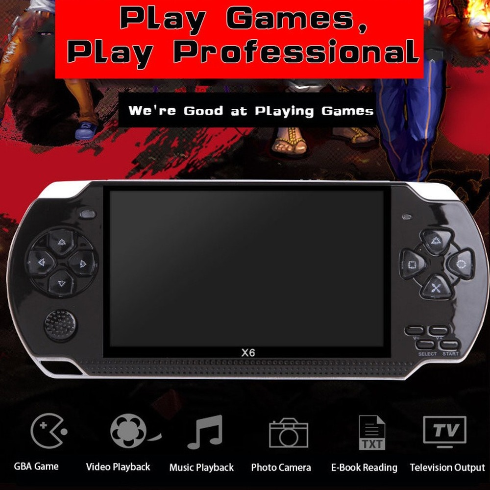 X6 hd multi-function 4.3-inch big screen handheld game console supports MP4 camera TV multimedia game console 10,000 games image