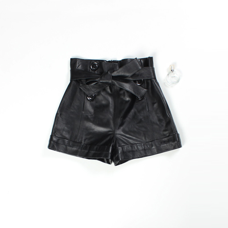 2020 Women Real Sheepskin Red Black Plus Size High Waist Feminino Vintage Korean Style Leather Shorts