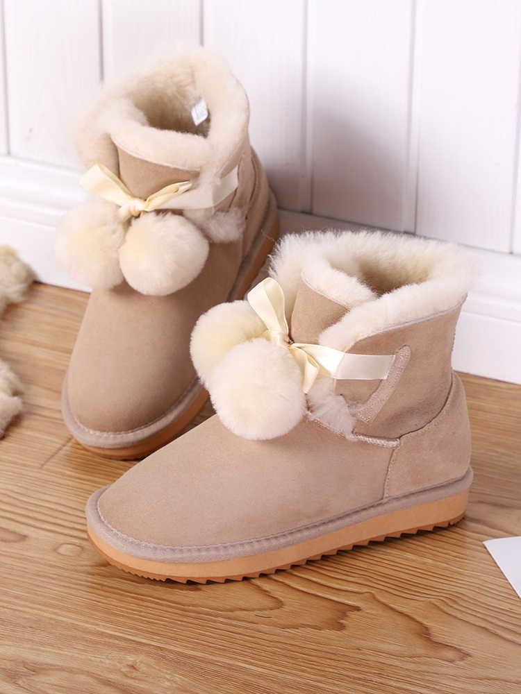MBR LỰC LƯỢNG Mới Da Cừu Da Lộn Da Shearling Len Lông Lót Ngắn cho Nữ Mùa Đông Giày Pom-Pom Phong Cách Cổ Chân Tuyết giày bốt cao cổ cho Bé Gái