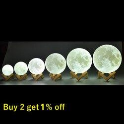 Перезаряжаемые Луны лампы 2 Цвет изменения 3D светильник сенсорный выключатель 3D печати лампы Moon Спальня Этажерка ночной Светильник творчес...