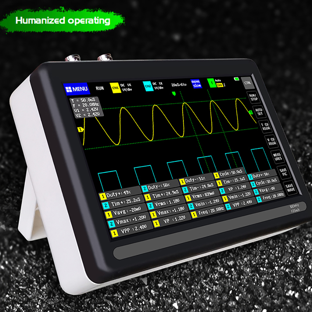 1013D Digital Tablet <font><b>Oscilloscope</b></font> Dual Channel <font><b>100MHz</b></font> Analog Bandwidth 1GS Sampling Rate 7inch LCD Display Mini <font><b>Oscilloscope</b></font> image