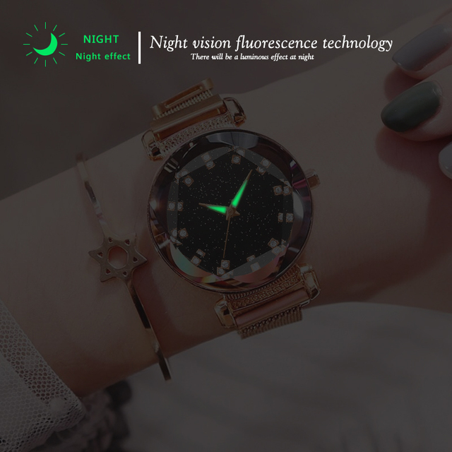 2019 New Luxury Women Watches Fashion Elegant Magnet Buckle Rose Gold Ladies Wristwatch Starry Sky Diamond Gift Quartz Clock 3