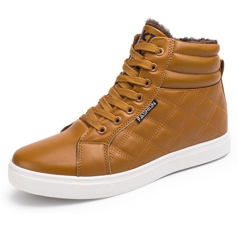 Image 3 - VESONAL 2019 зимние модные кожаные высокие кроссовки мужская обувь с мехом плюш теплая Повседневная Классическая удобная мужская обувь-in Мужская повседневная обувь from Обувь