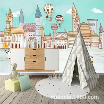 Hand-Painted Cartoon Creative Penguin Castle Wall Wallpaper Renting Children GIRL'S and BOY'S Bedside Seamless Mural