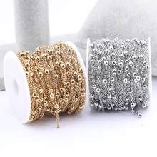 10meters/roll 3mm Ball Beaded Stainless Steel Gold Jewelry Chains For Necklace Bracelets Making Diy Earrings Supplies