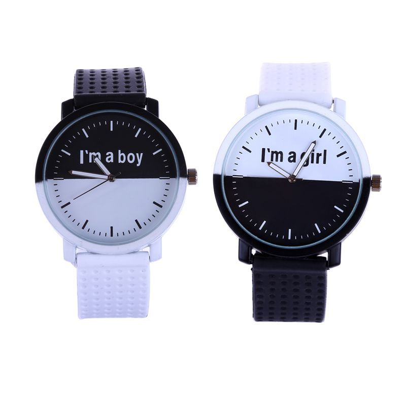 Minimalist Classic Lover Digital Watch Student Couple Stylish Spire Glass Belt Digital Watche Casual Simple Clock Letter I'm Boy
