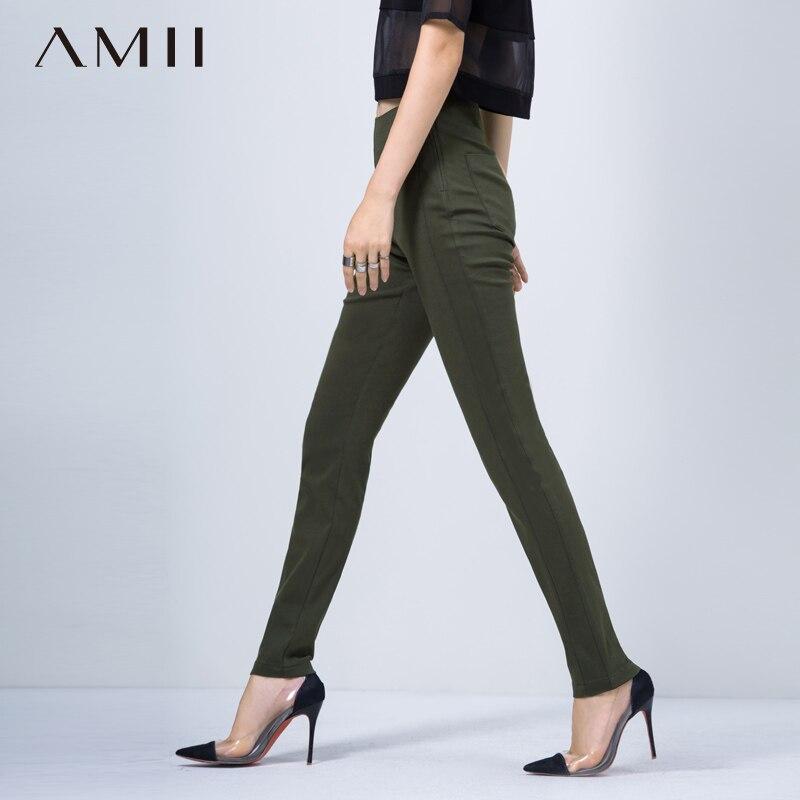 Amii Minimalist Long Pants Autumn Women High Waist Solid Slim Fit Female Trousers 11541087