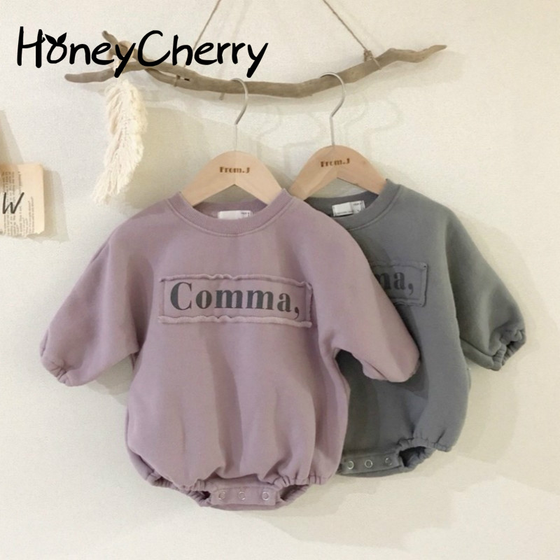 2020 Baby Girl Bodysuits Baby Letters Velvet One-piece Sweater Girls And Boys Fashion Loose Baby Bodysuit