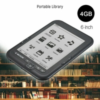 6 Inch 4GB Ebook Reader E Ink Capacitive E Book Light Eink Screen E Book E Ink E Reader MP3 with Case, WMA PDF HTML